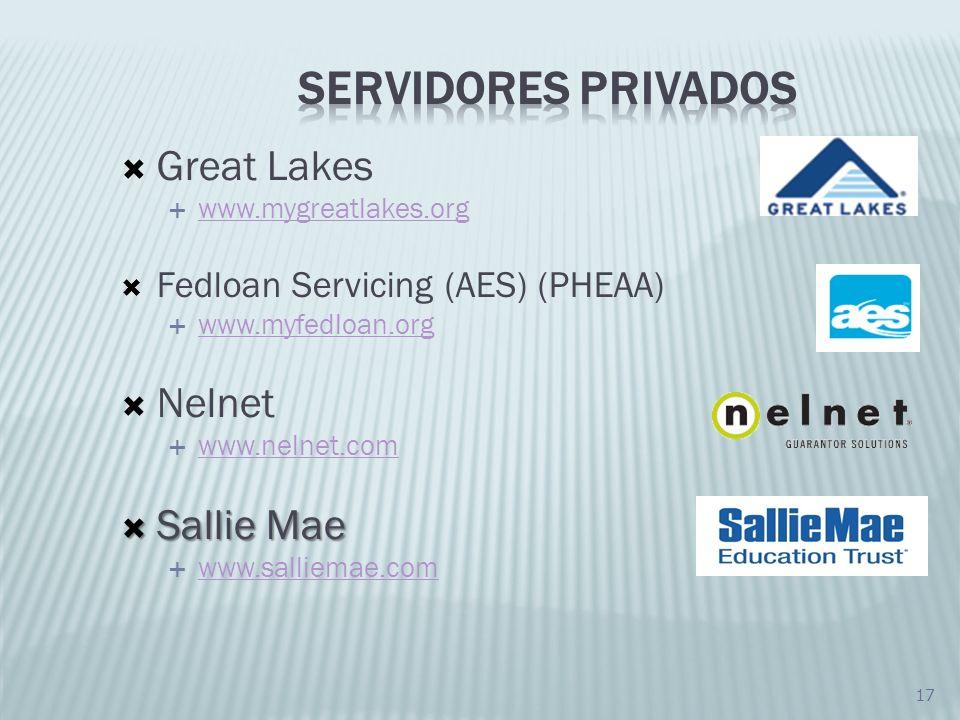 17 Great Lakes www.mygreatlakes.org Fedloan Servicing (AES) (PHEAA) www.myfedloan.org Nelnet www.nelnet.com Sallie Mae Sallie Mae www.salliemae.com