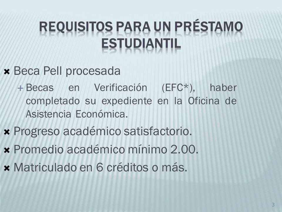 3 Beca Pell procesada Becas en Verificación (EFC*), haber completado su expediente en la Oficina de Asistencia Económica. Progreso académico satisfact