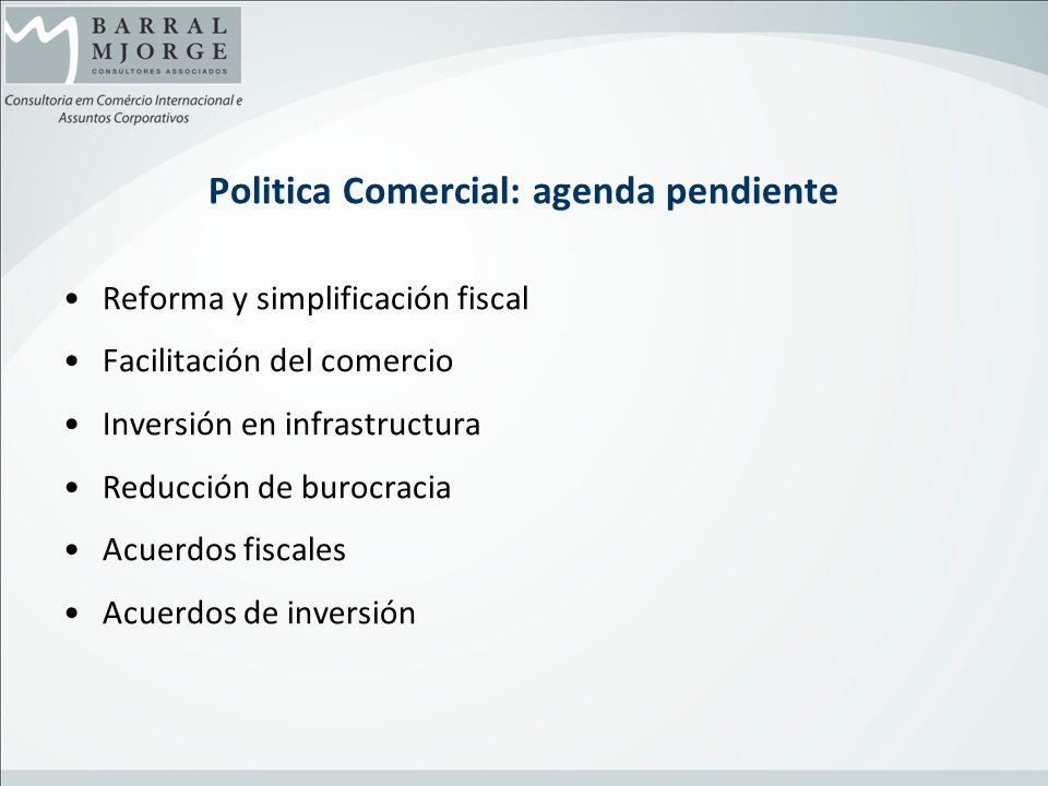 Politica Comercial: agenda pendiente Reforma y simplificación fiscal Facilitación del comercio Inversión en infrastructura Reducción de burocracia Acu