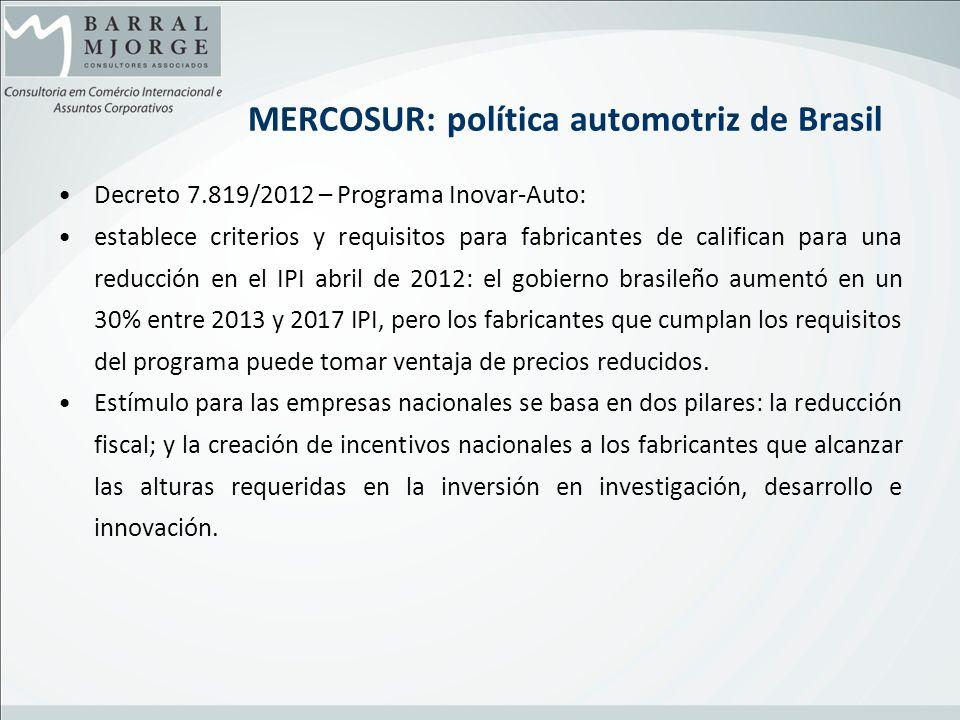 MERCOSUR: política automotriz de Brasil Decreto 7.819/2012 – Programa Inovar-Auto: establece criterios y requisitos para fabricantes de califican para
