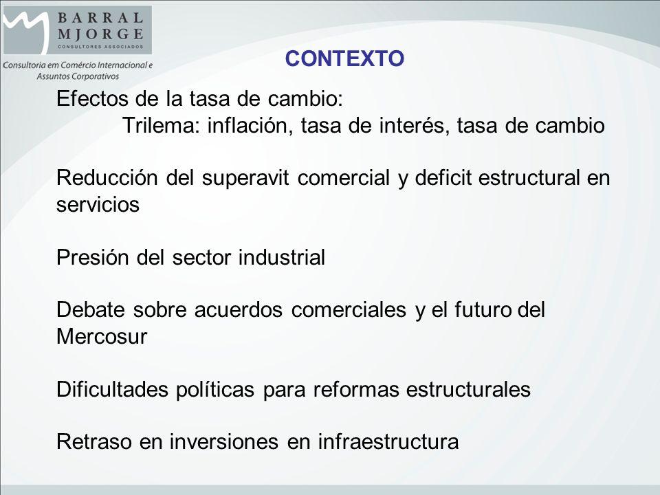 Efectos de la tasa de cambio: Trilema: inflación, tasa de interés, tasa de cambio Reducción del superavit comercial y deficit estructural en servicios