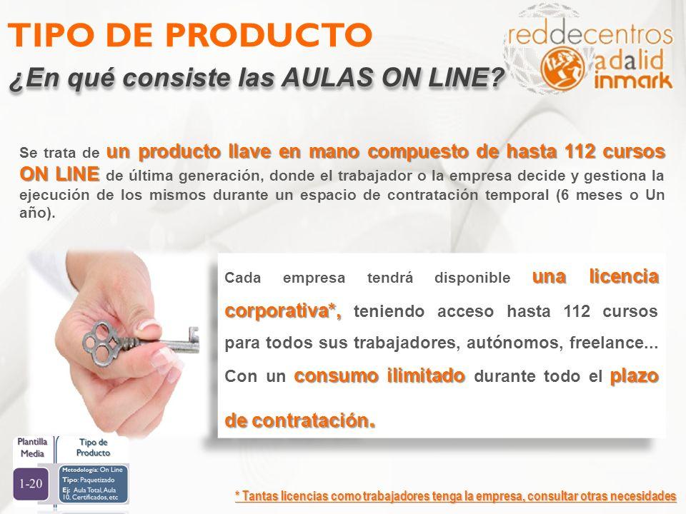 TIPO DE PRODUCTO ¿En qué consiste las AULAS ON LINE? * Tantas licencias como trabajadores tenga la empresa, consultar otras necesidades