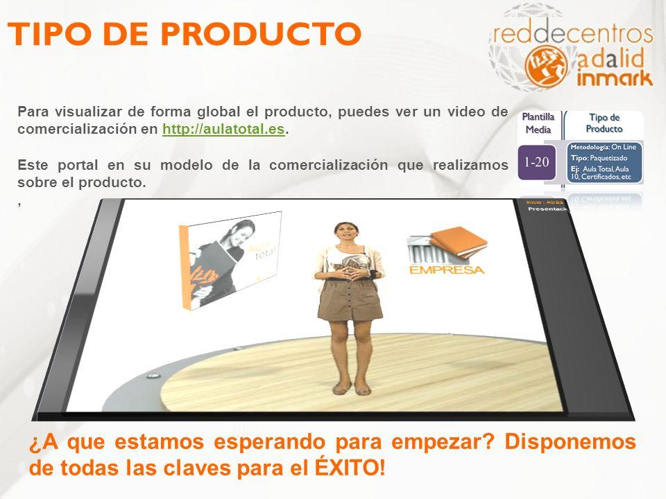 TIPO DE PRODUCTO Para visualizar de forma global el producto, puedes ver un video de comercialización en http://aulatotal.es.http://aulatotal.es Este