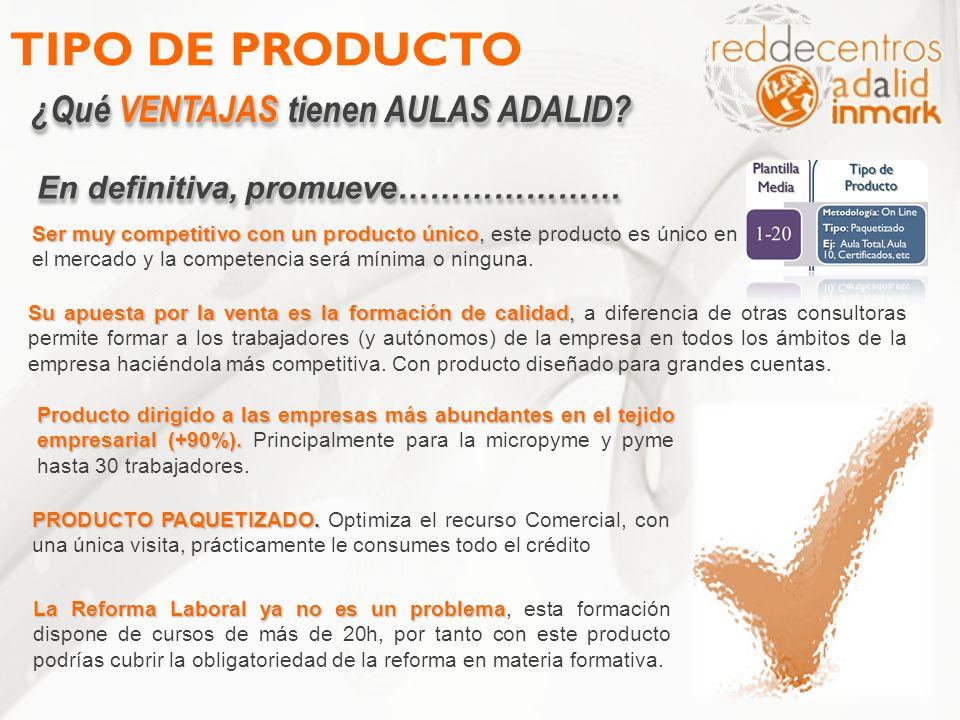 TIPO DE PRODUCTO ¿Qué VENTAJAS tienen AULAS ADALID? Ser muy competitivo con un producto único, Ser muy competitivo con un producto único, este product