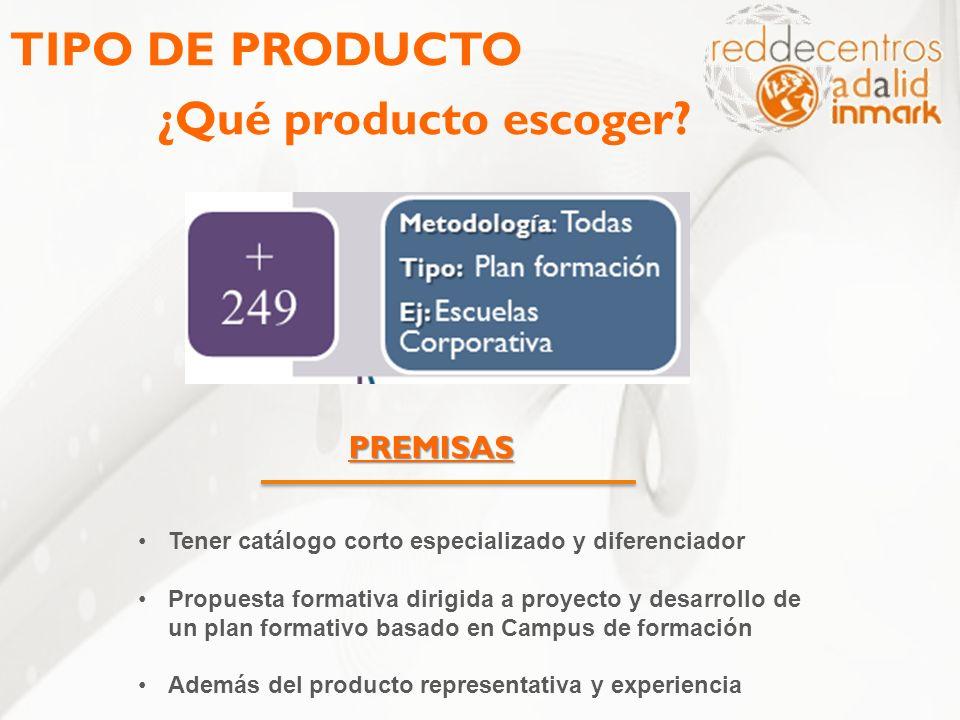 TIPO DE PRODUCTO ¿Qué producto escoger? PREMISAS Tener catálogo corto especializado y diferenciador Propuesta formativa dirigida a proyecto y desarrol