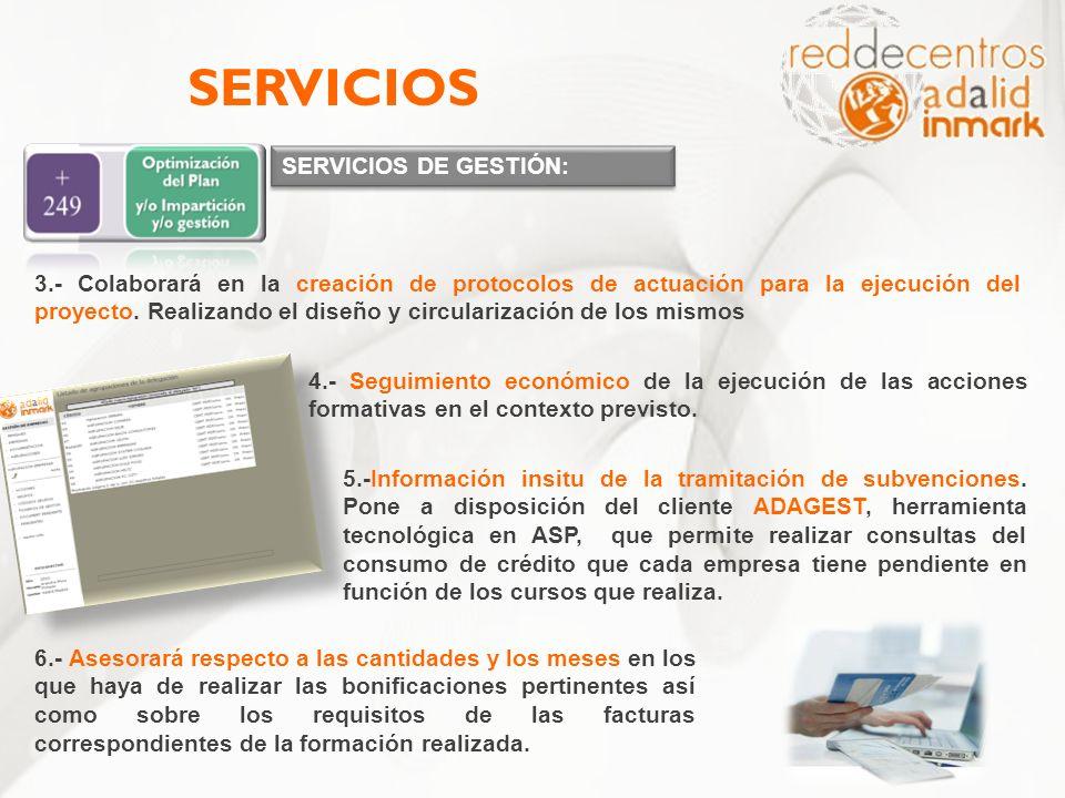 SERVICIOS DE GESTIÓN: SERVICIOS 3.- Colaborará en la creación de protocolos de actuación para la ejecución del proyecto. Realizando el diseño y circul