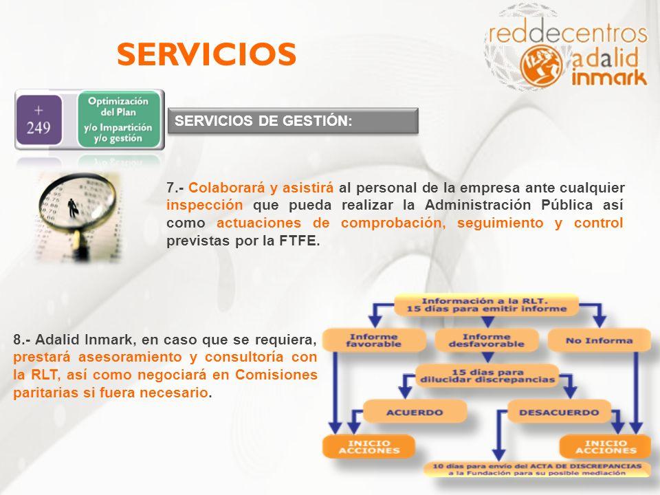 SERVICIOS DE GESTIÓN: SERVICIOS 7.- Colaborará y asistirá al personal de la empresa ante cualquier inspección que pueda realizar la Administración Púb
