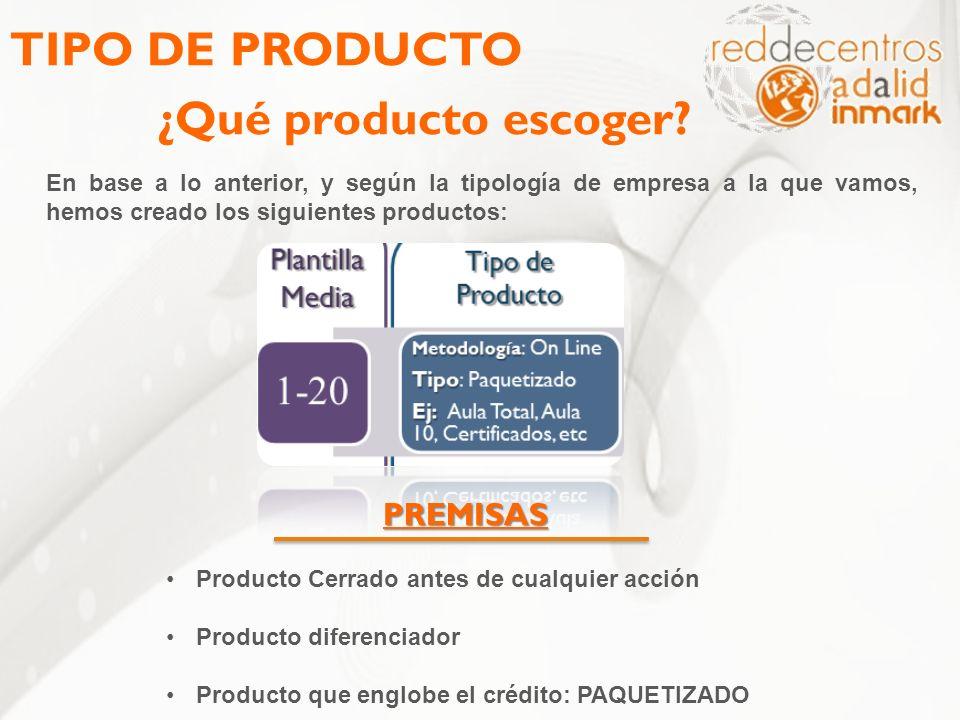 TIPO DE PRODUCTO ¿Qué producto escoger? En base a lo anterior, y según la tipología de empresa a la que vamos, hemos creado los siguientes productos: