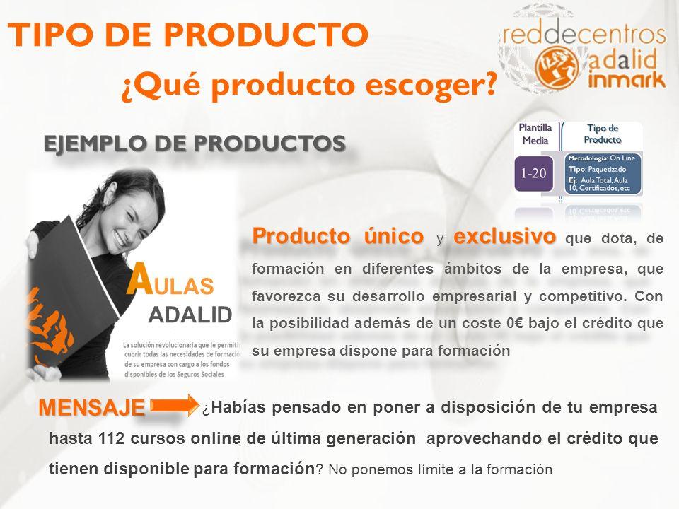 TIPO DE PRODUCTO ¿Qué producto escoger? EJEMPLO DE PRODUCTOS Producto único y exclusivo Producto único y exclusivo que dota, de formación en diferente