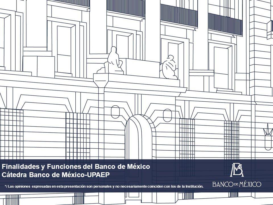 Finalidades y Funciones del Banco de México Cátedra Banco de México-UPAEP */ Las opiniones expresadas en esta presentación son personales y no necesariamente coinciden con los de la Institución.
