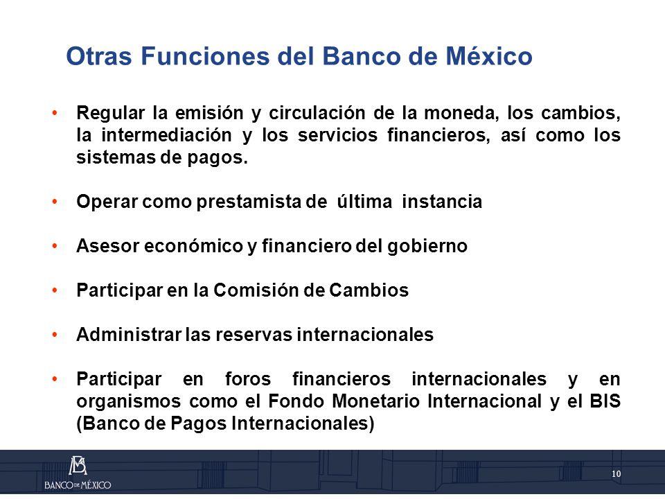 10 Otras Funciones del Banco de México Regular la emisión y circulación de la moneda, los cambios, la intermediación y los servicios financieros, así como los sistemas de pagos.