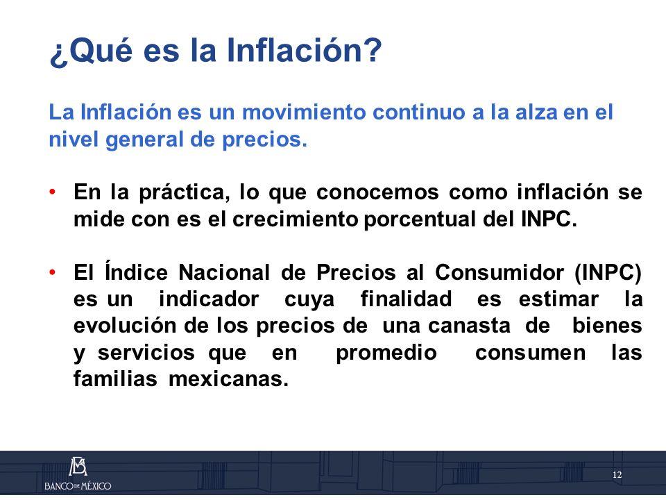 12 La Inflación es un movimiento continuo a la alza en el nivel general de precios.