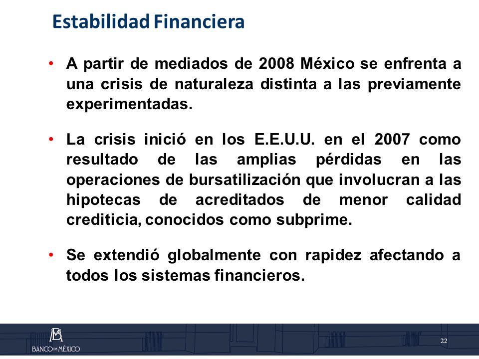 22 A partir de mediados de 2008 México se enfrenta a una crisis de naturaleza distinta a las previamente experimentadas.