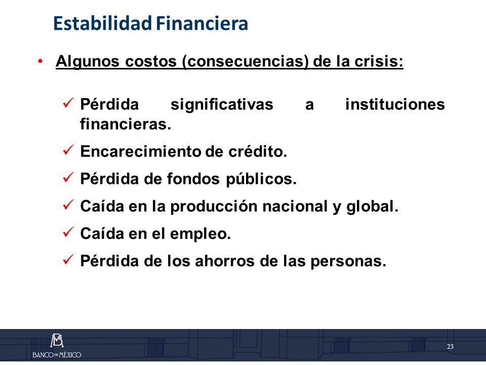 23 Algunos costos (consecuencias) de la crisis: Pérdida significativas a instituciones financieras.