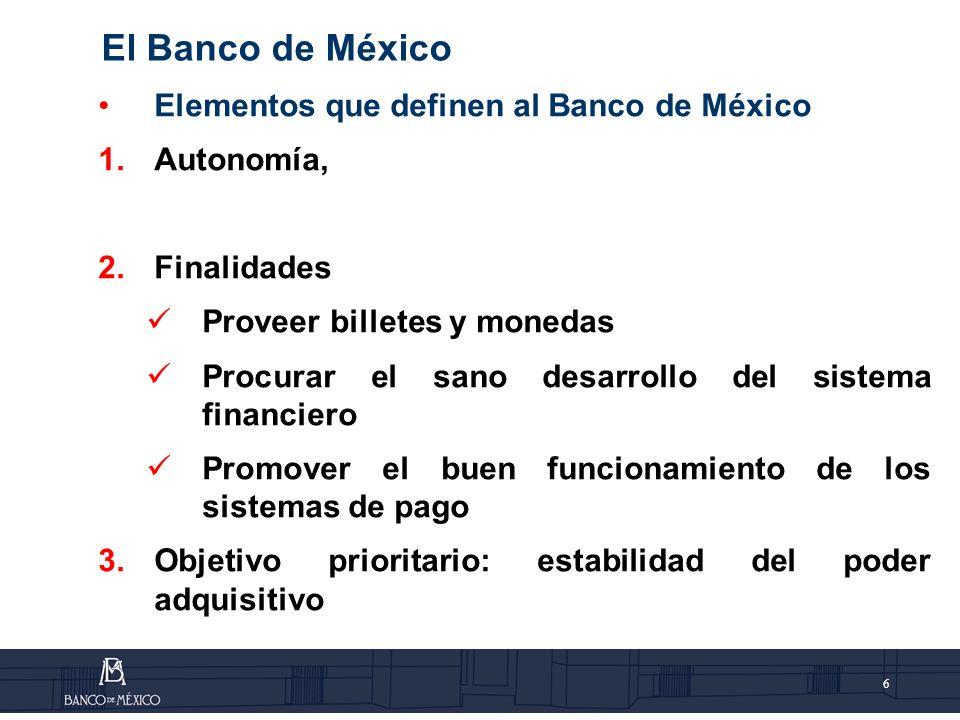 7 Autonomía La autonomía del Banco de México se apoya en los siguientes fundamentos: Independencia para determinar el volumen de crédito primario que pueda ser concedido; Independencia administrativa; e Independencia de los miembros de la Junta de Gobierno.