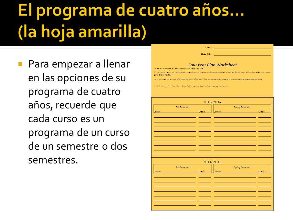 Para empezar a llenar en las opciones de su programa de cuatro años, recuerde que cada curso es un programa de un curso de un semestre o dos semestres.