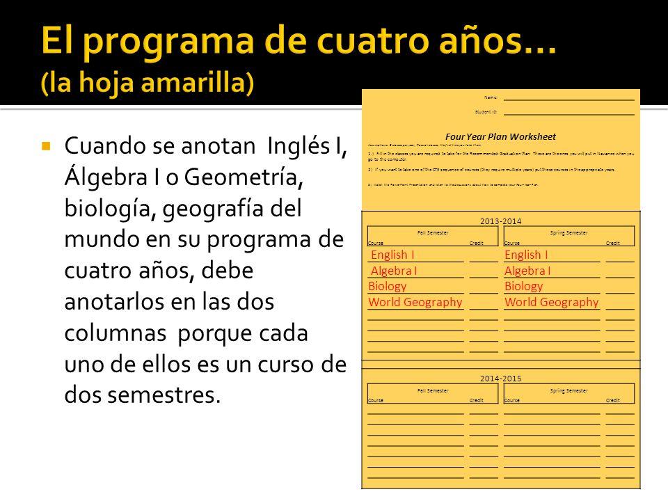 Cuando se anotan Inglés I, Álgebra I o Geometría, biología, geografía del mundo en su programa de cuatro años, debe anotarlos en las dos columnas porque cada uno de ellos es un curso de dos semestres.