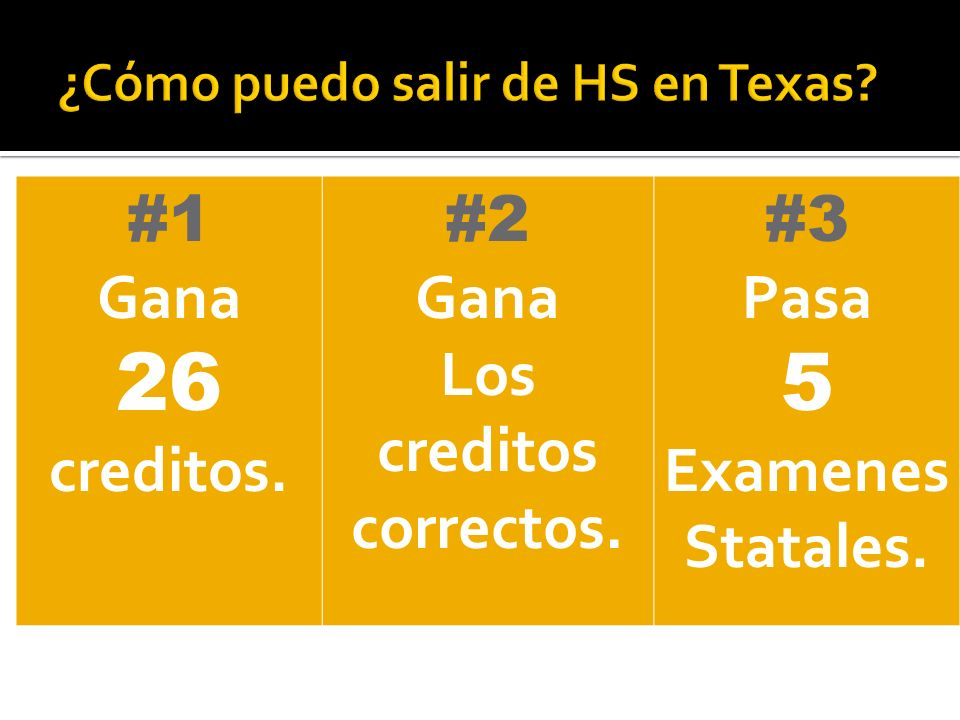 #1 Gana 26 creditos. #2 Gana Los creditos correctos. #3 Pasa 5 Examenes Statales.