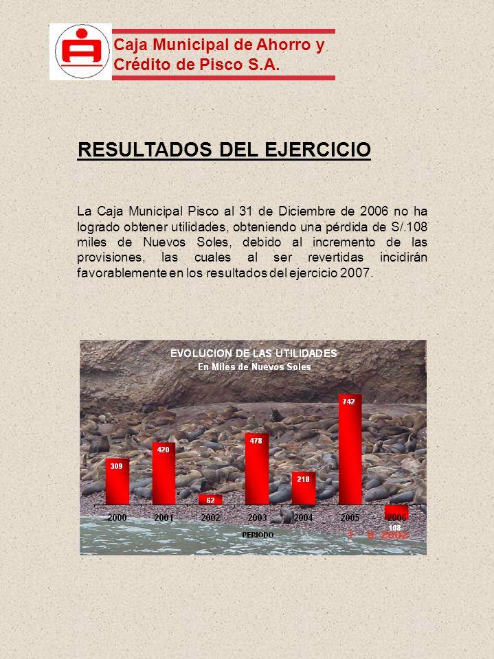 La Caja Municipal Pisco al 31 de Diciembre de 2006 no ha logrado obtener utilidades, obteniendo una pérdida de S/.108 miles de Nuevos Soles, debido al incremento de las provisiones, las cuales al ser revertidas incidirán favorablemente en los resultados del ejercicio 2007.