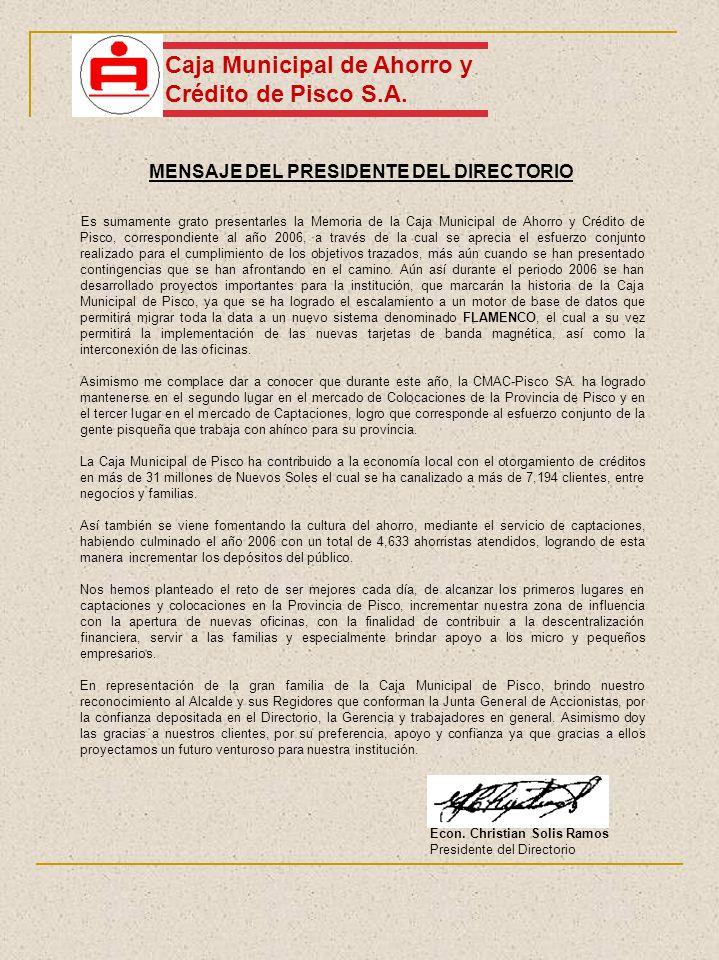 MENSAJE DEL PRESIDENTE DEL DIRECTORIO Caja Municipal de Ahorro y Crédito de Pisco S.A. Es sumamente grato presentarles la Memoria de la Caja Municipal