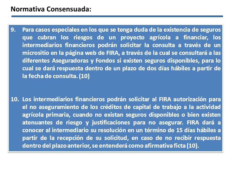 9.Para casos especiales en los que se tenga duda de la existencia de seguros que cubran los riesgos de un proyecto agrícola a financiar, los intermedi