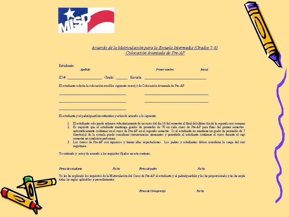 Si su hijo tiene interés en las clases de Pre-AP. El Distrito de MISD les pide que tengan una conferencia con el consejero y maestro para guía. Padres