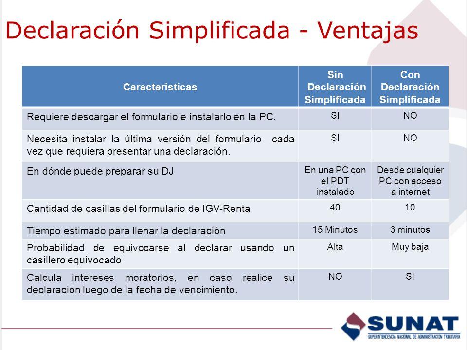 Declaración Simplificada - Ventajas Características Sin Declaración Simplificada Con Declaración Simplificada Requiere descargar el formulario e instalarlo en la PC.
