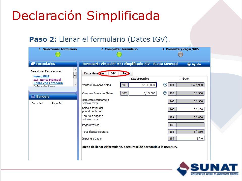 Paso 2: Llenar el formulario (Datos IGV). Declaración Simplificada