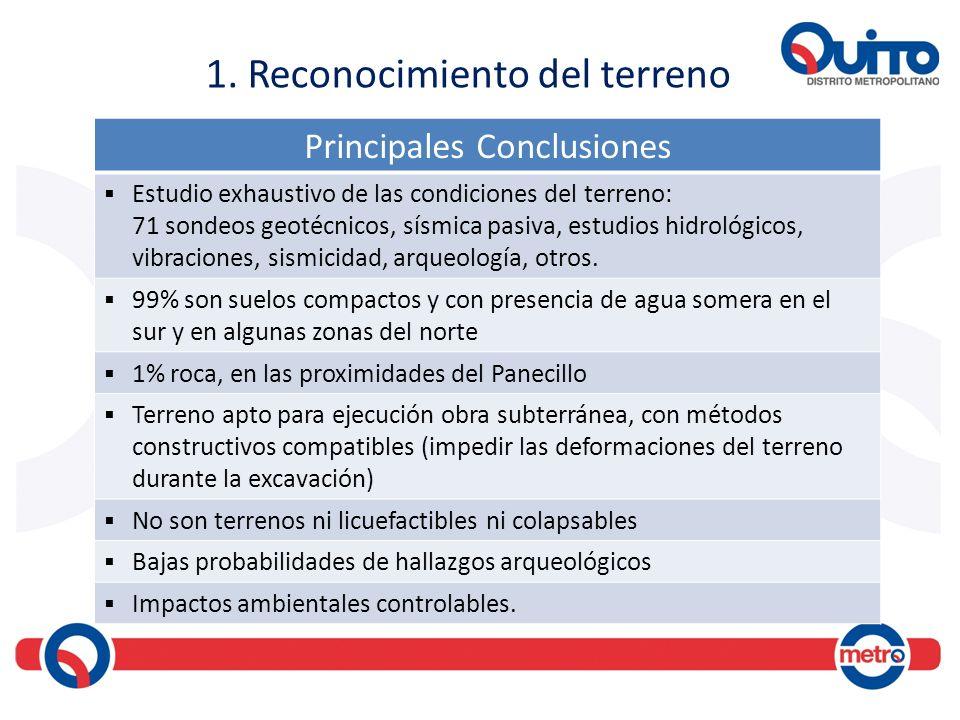 1. Reconocimiento del terreno Principales Conclusiones Estudio exhaustivo de las condiciones del terreno: 71 sondeos geotécnicos, sísmica pasiva, estu