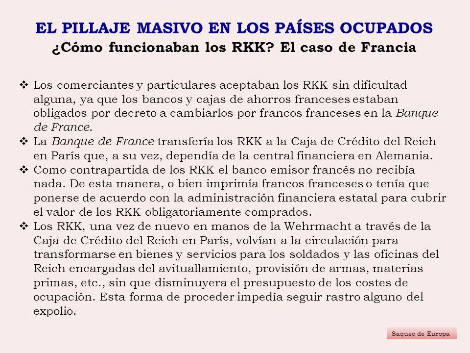 EL PILLAJE MASIVO EN LOS PAÍSES OCUPADOS ¿Cómo funcionaban los RKK? El caso de Francia Saqueo de Europa Los comerciantes y particulares aceptaban los
