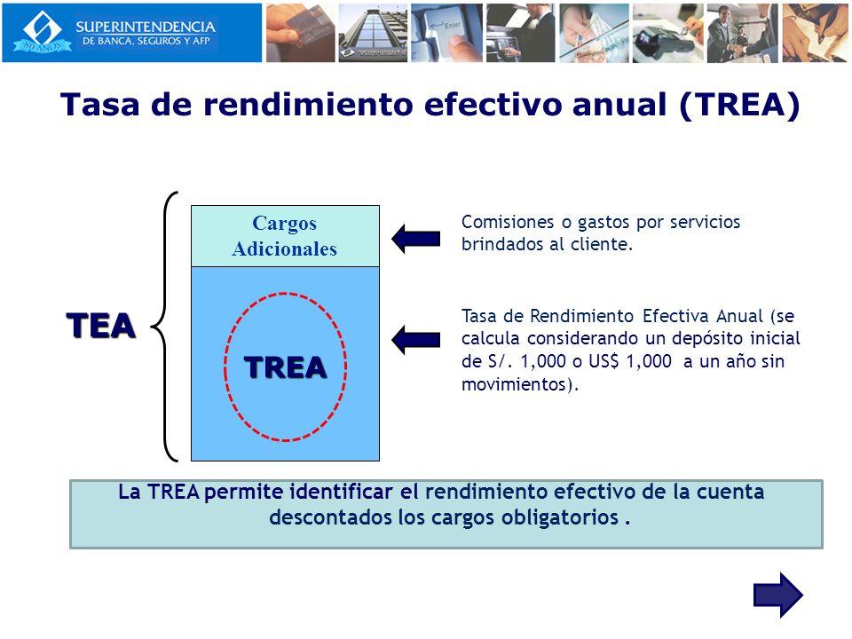 TEA TREA Cargos Adicionales Comisiones o gastos por servicios brindados al cliente. Tasa de Rendimiento Efectiva Anual (se calcula considerando un dep