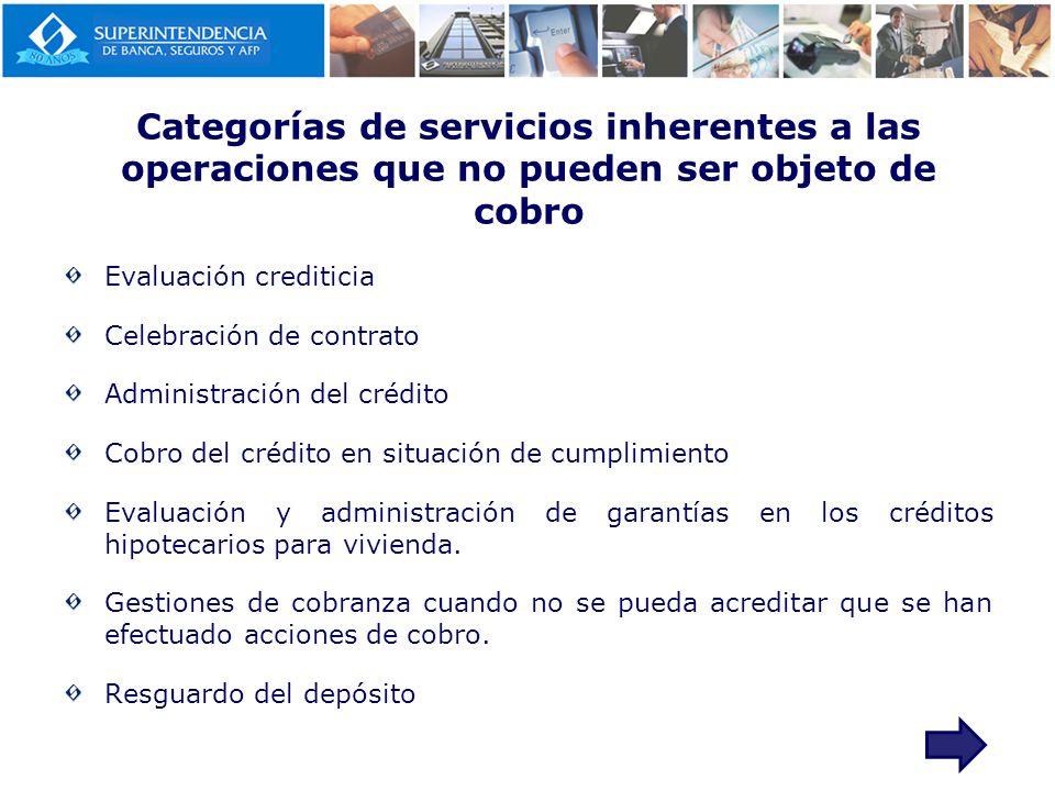 Categorías de servicios inherentes a las operaciones que no pueden ser objeto de cobro Evaluación crediticia Celebración de contrato Administración de