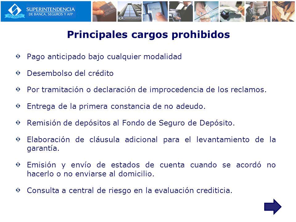 Principales cargos prohibidos Pago anticipado bajo cualquier modalidad Desembolso del crédito Por tramitación o declaración de improcedencia de los re