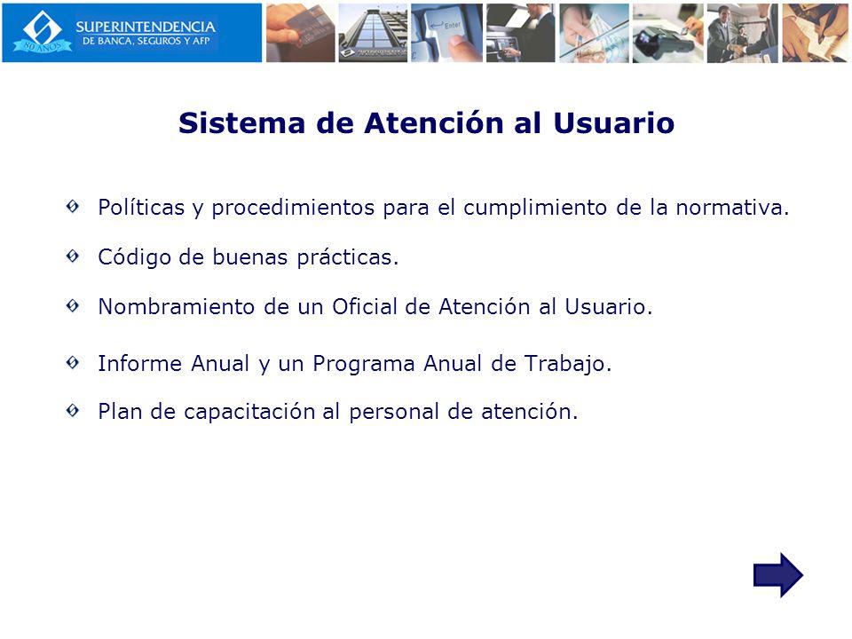Sistema de Atención al Usuario Políticas y procedimientos para el cumplimiento de la normativa. Código de buenas prácticas. Nombramiento de un Oficial
