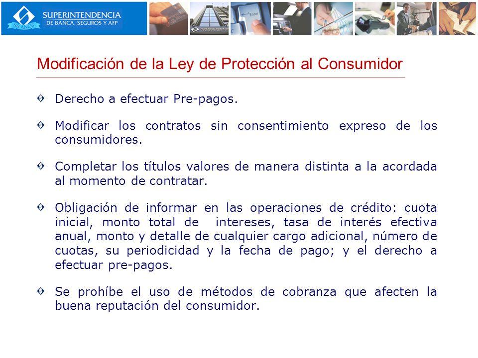 Derecho a efectuar Pre-pagos. Modificar los contratos sin consentimiento expreso de los consumidores. Completar los títulos valores de manera distinta