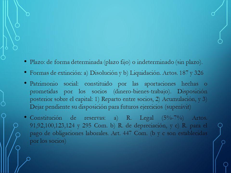 Plazo: de forma determinada (plazo fijo) o indeterminado (sin plazo).