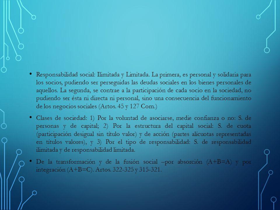 Responsabilidad social: Ilimitada y Limitada.