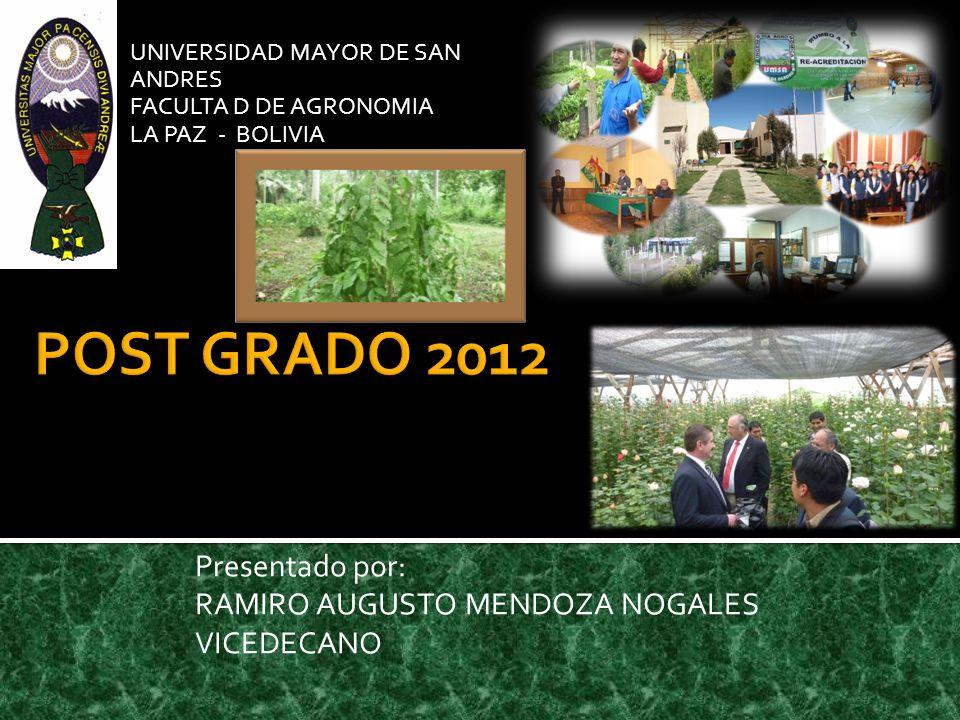UNIVERSIDAD MAYOR DE SAN ANDRES FACULTA D DE AGRONOMIA LA PAZ - BOLIVIA Presentado por: RAMIRO AUGUSTO MENDOZA NOGALES VICEDECANO