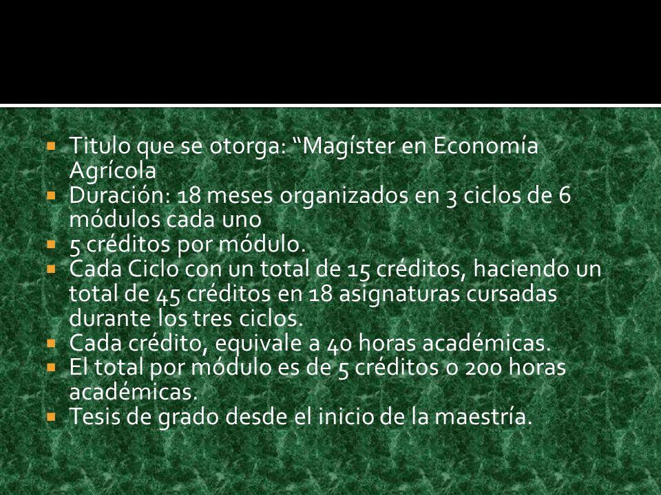 Titulo que se otorga: Magíster en Economía Agrícola Duración: 18 meses organizados en 3 ciclos de 6 módulos cada uno 5 créditos por módulo.