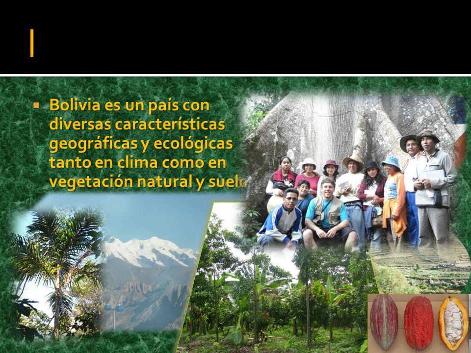 Bolivia es un país con diversas características geográficas y ecológicas tanto en clima como en vegetación natural y suelos. Bolivia es un país con di