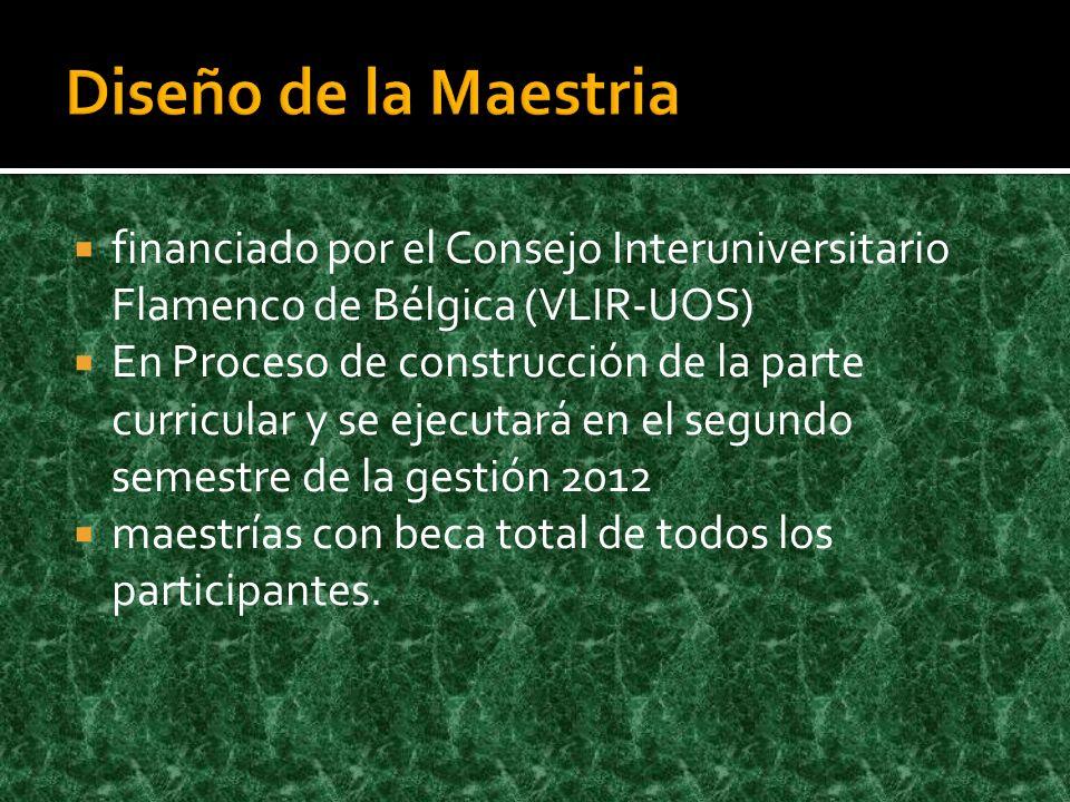 financiado por el Consejo Interuniversitario Flamenco de Bélgica (VLIR-UOS) En Proceso de construcción de la parte curricular y se ejecutará en el segundo semestre de la gestión 2012 maestrías con beca total de todos los participantes.