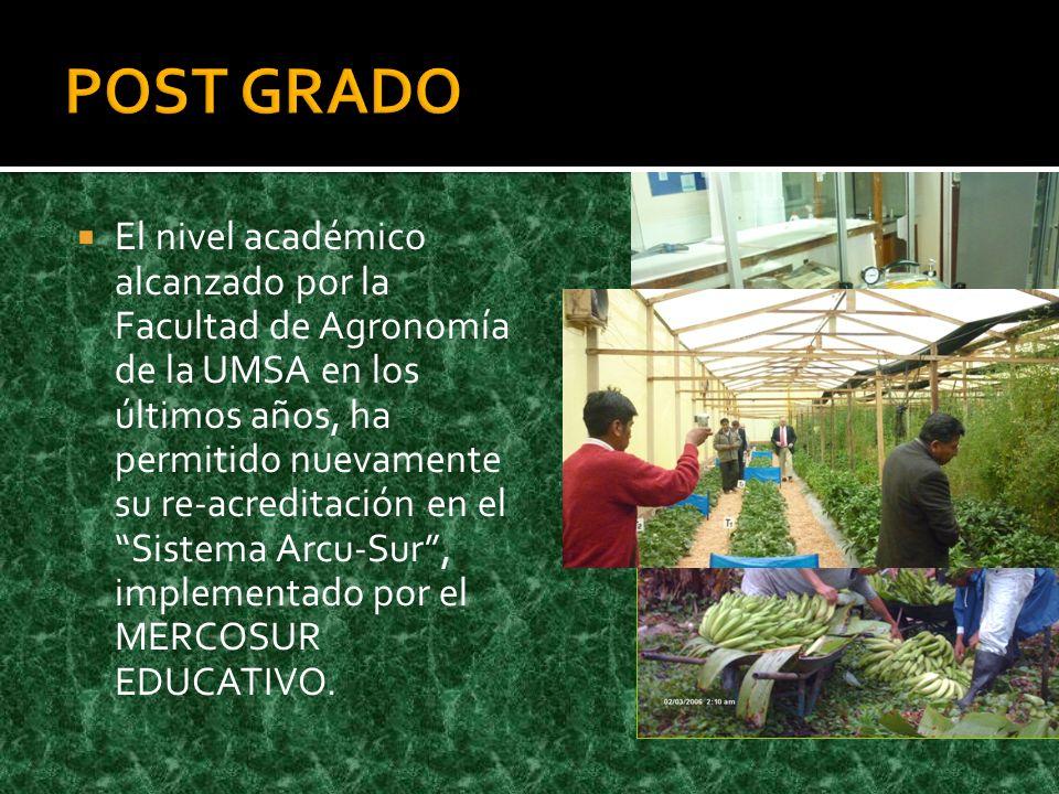 El nivel académico alcanzado por la Facultad de Agronomía de la UMSA en los últimos años, ha permitido nuevamente su re-acreditación en el Sistema Arcu-Sur, implementado por el MERCOSUR EDUCATIVO.
