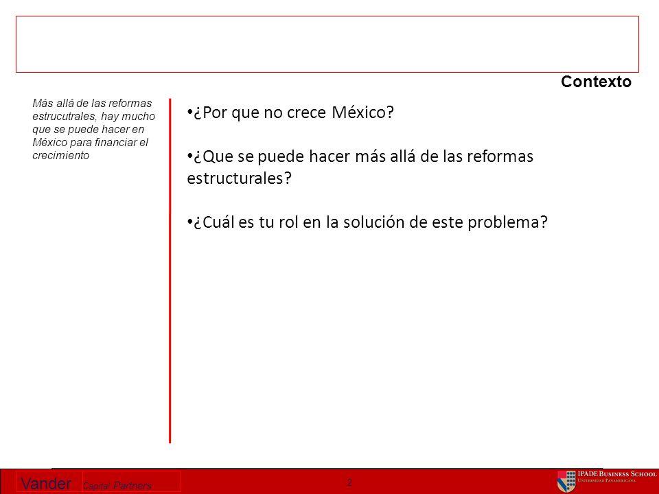 Vander Capital Partners 2 Contexto ¿Por que no crece México? ¿Que se puede hacer más allá de las reformas estructurales? ¿Cuál es tu rol en la solució