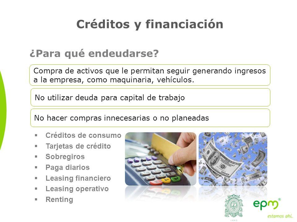 Créditos y financiación Créditos de consumo Tarjetas de crédito Sobregiros Paga diarios Leasing financiero Leasing operativo Renting Compra de activos que le permitan seguir generando ingresos a la empresa, como maquinaria, vehículos.