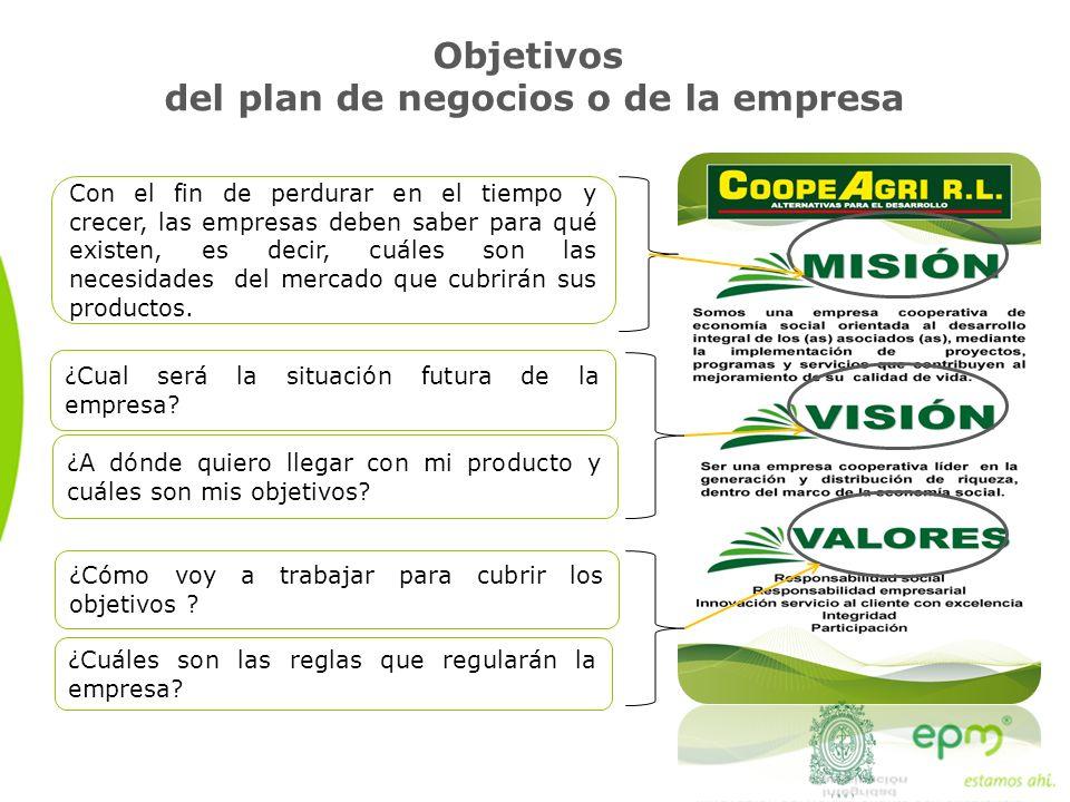 Objetivos del plan de negocios o de la empresa ¿Cual será la situación futura de la empresa? Con el fin de perdurar en el tiempo y crecer, las empresa