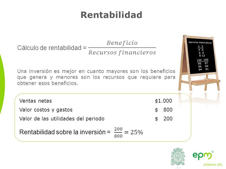Rentabilidad Una inversión es mejor en cuanto mayores son los beneficios que genera y menores son los recursos que requiere para obtener esos benefici