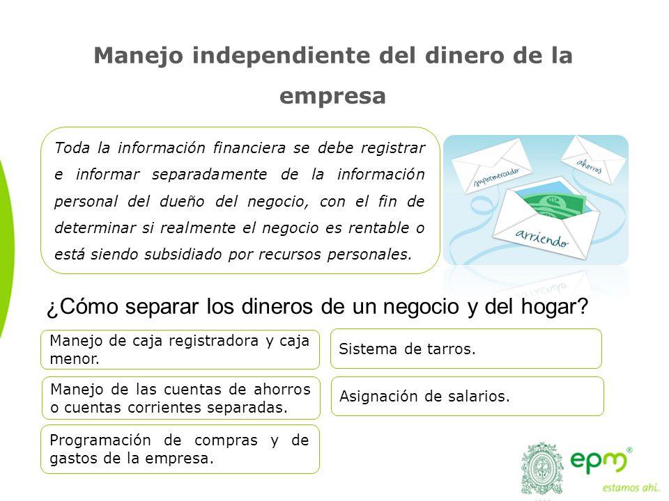 Manejo independiente del dinero de la empresa ¿Cómo separar los dineros de un negocio y del hogar? Toda la información financiera se debe registrar e