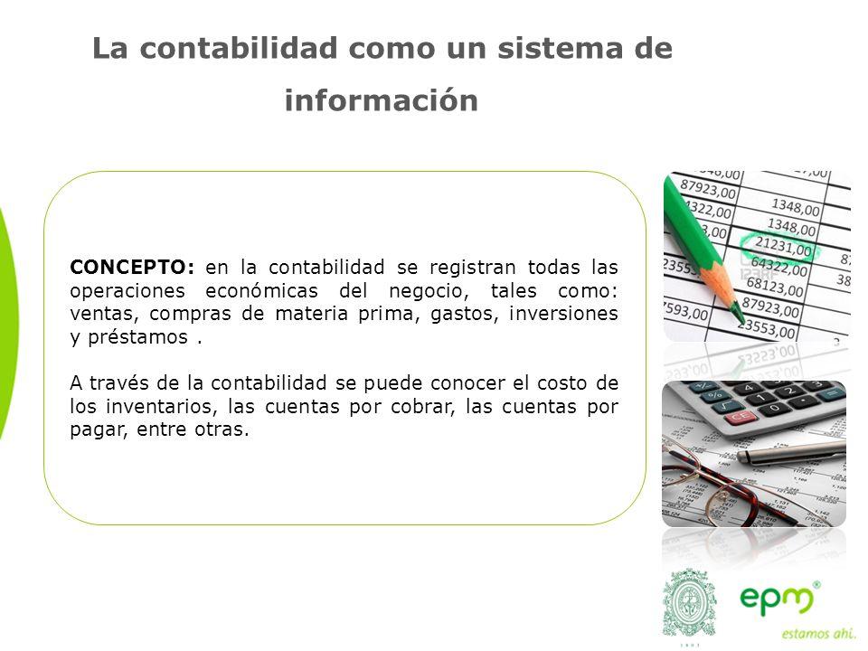 La contabilidad como un sistema de información CONCEPTO: en la contabilidad se registran todas las operaciones económicas del negocio, tales como: ventas, compras de materia prima, gastos, inversiones y préstamos.