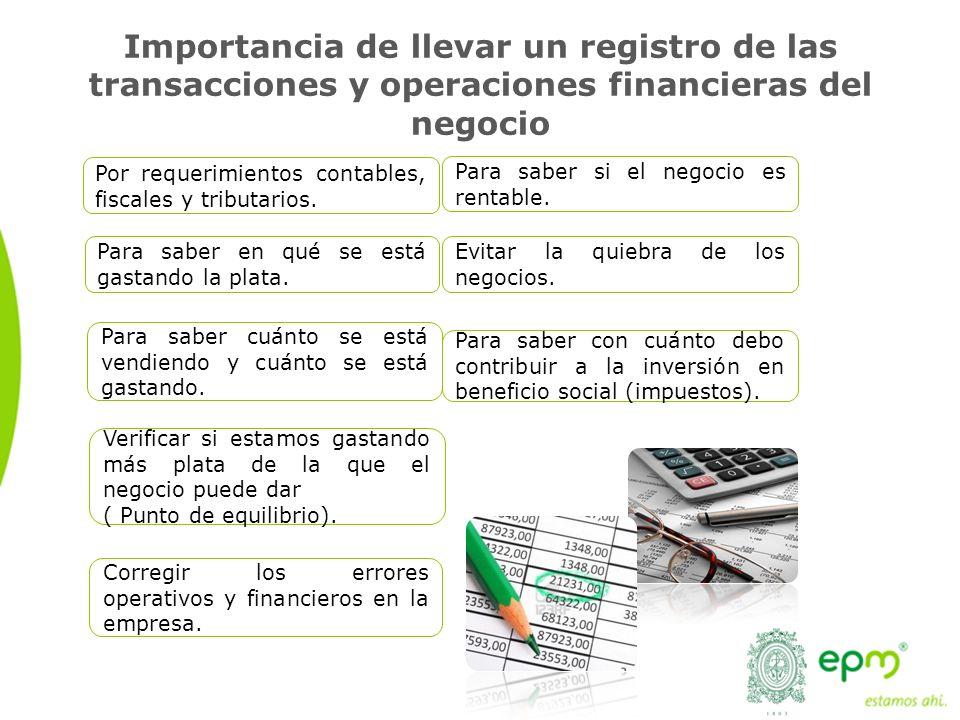 Importancia de llevar un registro de las transacciones y operaciones financieras del negocio Por requerimientos contables, fiscales y tributarios.