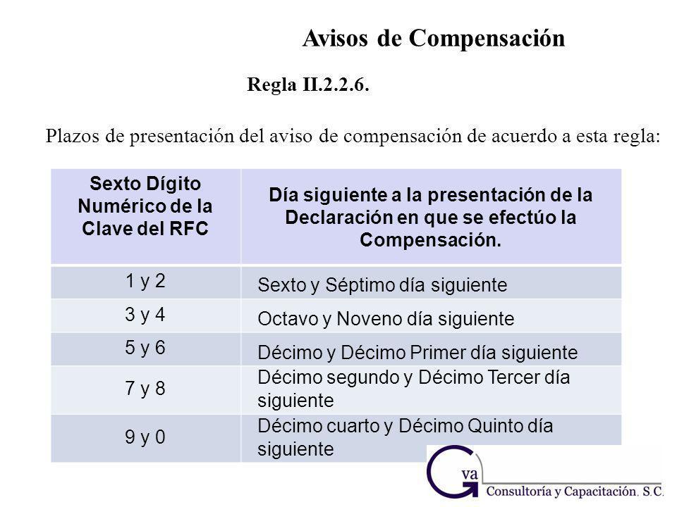 Regla II.2.2.6. Plazos de presentación del aviso de compensación de acuerdo a esta regla : Sexto Dígito Numérico de la Clave del RFC Día siguiente a l